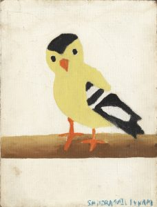 Sandys first painting a gold finch