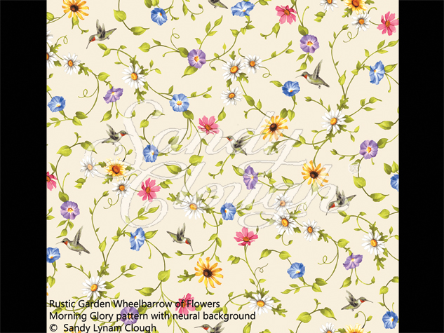 Rustic Garden--Wheelbarrow of Flowers Morning Glory Pattern