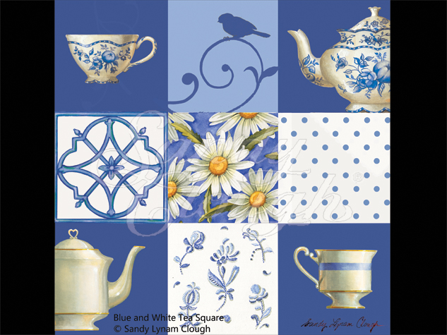 Blue and White Tea Square