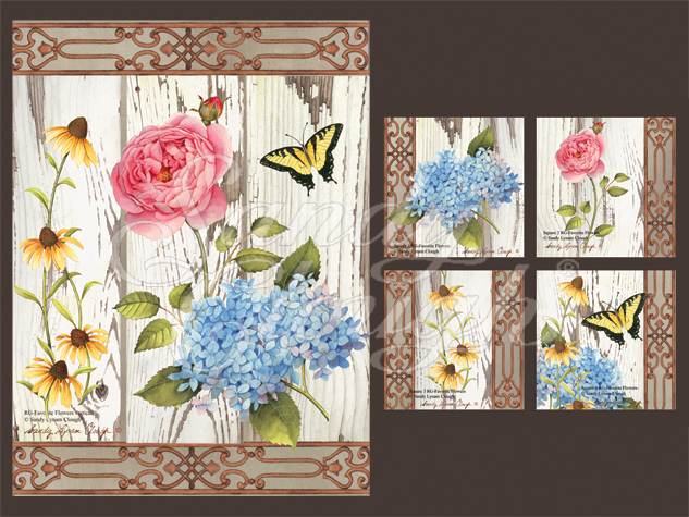 Rustic Garden-Favorite Flowers Vertical and Four Squares