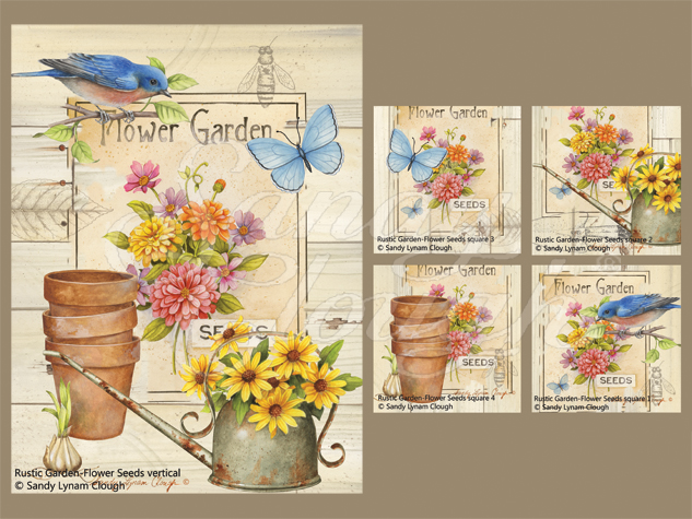 Rustic Garden-Flower Seeds Vertical and Four Squares