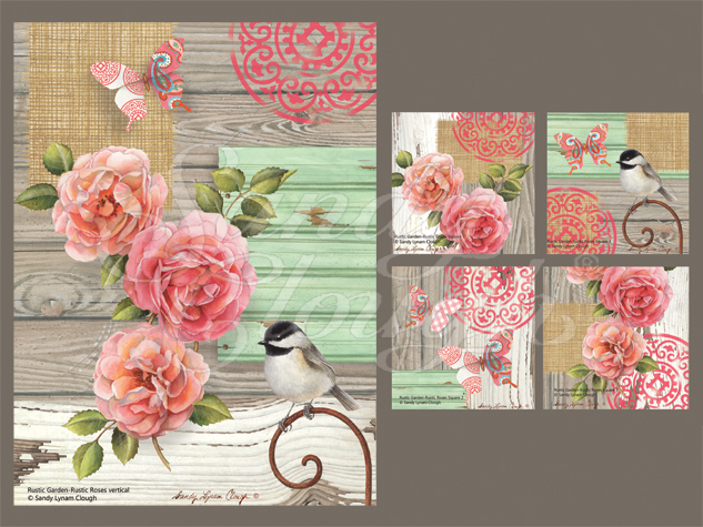 Rustic Garden-Rustic Roses Vertical and Four Squares