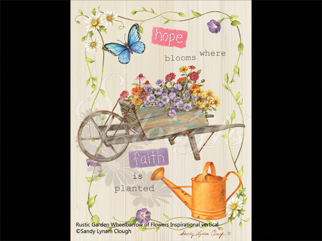 Rustic Garden-Wheelbarrow of Flowers Inspirational Vertical