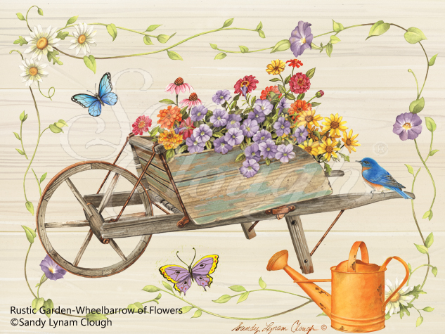 Rustic Garden-Wheelbarrow of Flowers