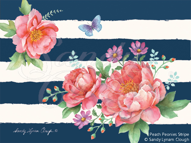 Peach Peonies Stripe