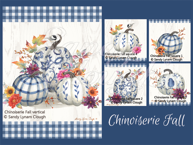 Chinoiserie Fall Vertical and Four Squares