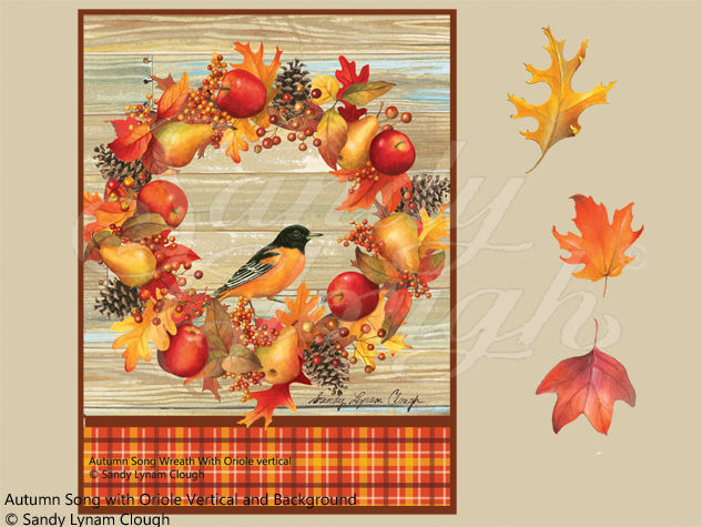 Autumn Song Wreath with Oriole Vertical and Background